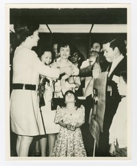 Imelda Marcos Greets Guests. Mrs. Estrada also Pictured [Photograph, Black and White] [Notebook 2]