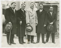 Press release photo of Philippine Independence Mission arriving in San Francisco, California [Photograph, Black and White] [Digital Only]