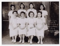 Nursing School Class Photo - Officers of the Student Body of N.G.H. School of Nursing, Manila - Miss Teresa Mendez, Advisor [Photograph, Black and White] [Notebook 1]