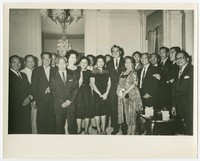 VIP Reception at the Philippine Embassy, includes Melchior Quidangen (4th from left, front) [Photograph, Black and White] [Notebook 2]