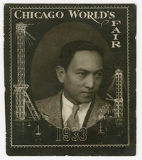 Stamp of Clemente Cacas at the Chicago's World Fair [Photograph, Black and White] [Notebook 1]