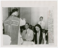President Elpidio Quirino receiving blessing at Hopkins Hospital [Photograh, Black and White] [Digital Only]
