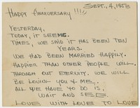 Anniversary notecard from Leo Toribio to Amparing [Photograph, Black and White] [Digital Only]