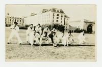 Mariano Peji and Filipino navy men playing football at the U.S. Naval Academy [Photograph, Black and White] [Digital Only]