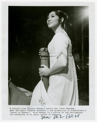 "Evelyn Mandac on NET Opera Theater in a production of ""Queen of Spades"" [Photograph, Black and White] [Digital Only]"