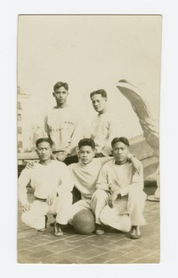 Mariano Peji and four other Filipino navy men posing with a basketball [Photograph, Black and White] [Digital Only]