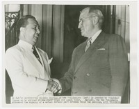 President Elpidio Quirino is greeted by President Harry Truman as he arrived at the Blair House, Washington, D.C. [Photograph, Black and White] [Digital Only]
