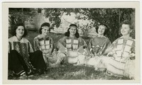 Amparing Santos Toribio and friends in American Indian regalia [Photograph, Black and White] [Digital Only]