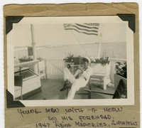 Leo C. Toribio in US naval uniform playing a horn on Training Ship Reina Mercedes in Annapolis, Maryland [Photograph, Black and White] [Digital Only]