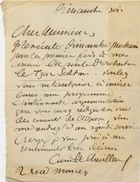 Letter from Camille Chevillard to Michel-Dmitri Calvocoressi, undated