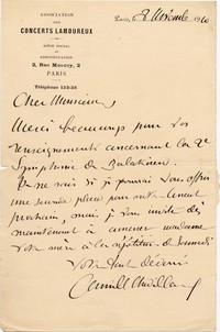 Letter from Camille Chevillard to Michel-Dmitri Calvocoressi, November 8, 1910