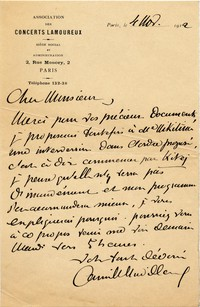 Letter from Camille Chevillard to Michel-Dmitri Calvocoressi, November 4, 1912