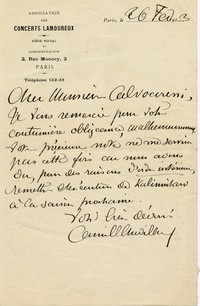 Letter from Camille Chevillard to Michel-Dmitri Calvocoressi, February 26, 1913
