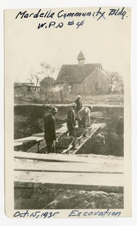"""Excavation site for """"Mardella Community Buidling,"""" Mardela Springs, Wicomico County, Maryland, October 15, 1935"""