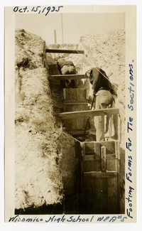Footing forms for tie sections, Wicomico High School, October 15, 1935