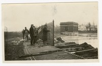 Erecting fence, Lake Ashburton, Baltimore, Maryland, January 13, 1936