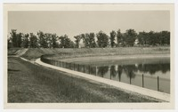 Completed fence and walkway at Lake Ashburton, Baltimore, Maryland, May 19, 1936