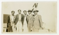 Photo of five men, including Clemente Cacas [Photograph, Black and White] [Notebook 1]