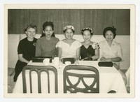 Women at an Event, (from left): unknown woman, Maria Cacas, Monica Bautista, Florentina dePeralta, Ana Alcoy [Photograph, Black and White] [Notebook 1]