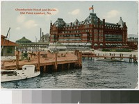Chamberlin Hotel and docks, Old Point Comfort, Virginia, 1907-1913