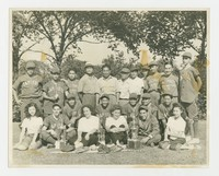 Filipino Capitols baseball team with fans and trophies in Chicago [Box 2, folder 1] [Notebook 1]
