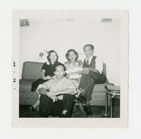 Virginia Manantan, Maria Cacas, Samuel Cacas, Clemente Cacas, and Daniel Manantan on a Couch [Photograph, Black and White] [Notebook 1]