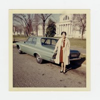 Monica Selga Bautista with Car on the National Mall, Washington, D.C. [Photograph, Color] [Notebook 1]
