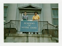 Rita Cacas and unknown woman at Academy of Notre Dame in Washington, D.C. [Photograph, Color] [Notebook 1]