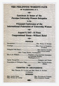 Copy of Invitation to the Philippine Women's Club Luncheon in Honor of the Foreign University Women Delegates to the Triennial Conference of the International Federation of University Women [Photograph, Color] [Notebook 1], August 9, 1947