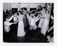 Party for Wedding of Dolores Lillian Abellera and Nolasco Icarangal (far right) [Photograph, Black and White] [Notebook 1], September 18, 1949