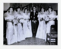 Dolores Lillian Abellera (third from left) with Joaquén M. Elizalde (Philippine Ambassador) and her bridesmaids at her wedding [Photograph, Black and White] [Notebook 1], September 18, 1949