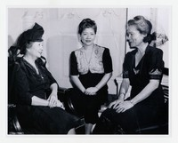 Aurora Quezon and Two Unidentified Filipino Women [Photograph, Black and White] [Notebook 1], Circa 1940s