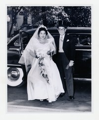 Dolores Lillian Abellera and J.M. Elizalde Arriving at Abellera's Wedding [Photograph, Black and White] [Notebook 1], September 18, 1949