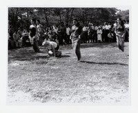Quidangen and Cabigas Families in Sack Race at Chapel Point State Park [Photograph, Black and White] [Notebook 1], Circa 1950s