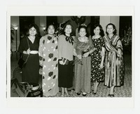 Six Women, Including Grace Pedery, Josefina Azarcon (center with crown) and Flora Azarcon (far right) [Photograph, Black and White] [Notebook 2], Undated