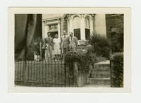 Juliana Panganiban, Rudy Panganiban and Two Other Men Outside of Manila House, from the Right [Photograph, Black and White] [Notebook 2], Circa spring 1944