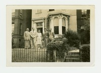 Juliana Panganiban, Rudy Panganiban and Three Other Men Outside of Manila House [Photograph, Black and White] [Notebook 2], Circa spring 1944