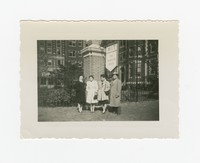 Three Women and a Man in front of MIT Graduate House [Photograph, Black and White] [Notebook 2], Circa 1945-1950