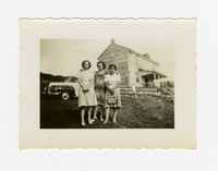 Three Women in Front of House and Car, Including Juliana Panganiban and Mrs. Perez [Photograph, Black and White] [Notebook 2], September 11, 1942