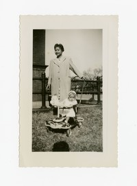 Mother (Julie Panganiban) with Child (Lena Panganiban) in Stroller [Photograph, Black and White] [Notebook 2], November 1947