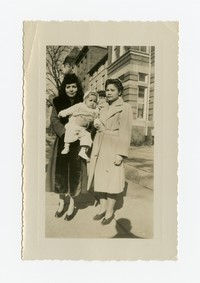 Two Women (one is Julie Panganiban) with Child (Lena Panganiban) on Sidewalk [Photograph, Black and White] [Notebook 2], February 16, 1948