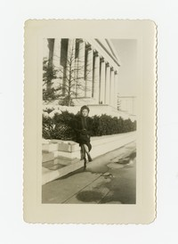 Leona Puyot Sitting at the National Gallery of Art in Washington D.C. [Photograph, Black and White] [Notebook 2], Circa 1950