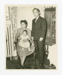 Family Photograph of Juliana, Rudy and Lena Panganiban [Photograph, Black and White] [Notebook 2], Circa 1948