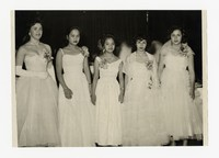 Five Women at Event including Mina Puyot [Photograph, Black and White] [Notebook 2], circa 1955-1960