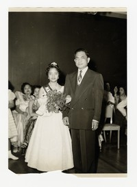 Mina Puyot as May Queen with Lucelo Puyot [Photograph, Black and White] [Notebook 2], 1957