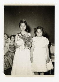 Mina Puyot as May Queen and Lena Panganiban [Photograph, Black and White] [Notebook 2], 1957