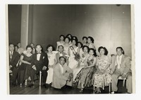 Mina Puyot as May Queen with Group [Photograph, Black and White] [Notebook 2], 1957