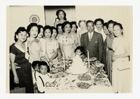 Group Photo with Food [Photograph, Black and White] [Notebook 2], circa 1950-1960