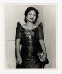Leona Puyot in Dress [Photograph, Black and White] [Notebook 2], circa 1950-1960