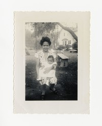 Mrs. Salveron with an Infant on a Swing [Photograph, Black and White] [Notebook 2], circa 1940-1960